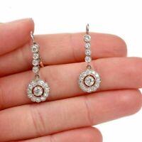 Vintage Art Deco 1.00 Ct Round Diamond Drop Dangle Earrings 14K White Gold Over