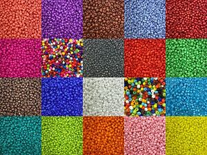 3mm Opaque glass seed beads - 50g pack, size 8/0, approx 1400 beads many colours