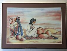 Original Pastel Painting Native Indian Woman & Man w/Pottery, Signed by Artist