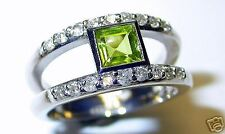 PERIDOT AND DIAMOND RING 14 K .35 CT DIAMONDS NATURAL