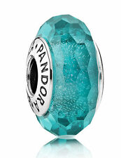 Authentic Pandora Charms Bead Red Teal Shimmer Murano Glass 791655