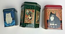 DESIGN M. LEMAN for J. LUBER Lot Of 3 Tin Containers with Cats Kittens Miniature