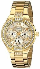 Guess Ladies U0111L2 Shimmers Round Dial Crystals Gold IP Band Watch