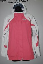 THE NORTH FACE GIRL'S HYVENT WATERPROOF JACKET CORAL PINK AND WHITE SIZE XL