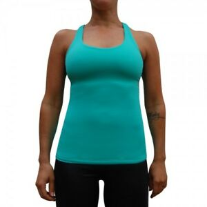 Ladies Padded Exercise Singlet Aqua Green XS , S , M Fit Hot Fitness Wear