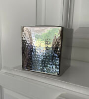 Square Metal  Silver Tone Hammered Facial Tissue Box Cover Holder