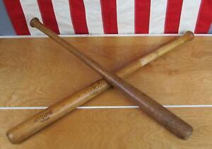 Vintage Pair Hutch Wood Baseball Bats Junior League/Official Softball Display