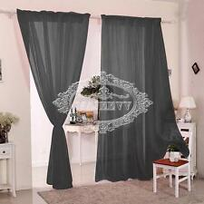 2 Panels Pairs Plain Voile Slot Top Rod Pocket Net Voile Curtains Pelmets Soft