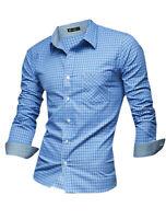 Men Casual Pocket Plaid Slim Fit Long Sleeve Button Down Cotton Shirt Sky Blue S