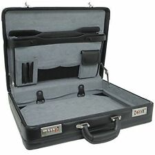 Alpine Swiss Expandable Leather Attache Briefcase Combination Locks 1yr