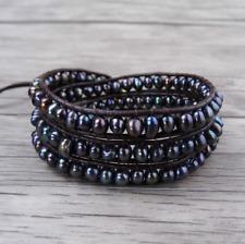 Natural Genuine Freshwater Dark Purple Pearl Leather Wrap Bracelet Beaded Beads