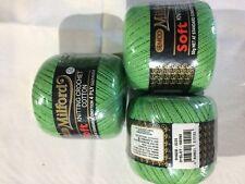 3 x Milford Cotton 4 PLY 50g GREEN #0225 Dye Lot 108390
