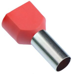 Red 10mm Twin Cord End Ferrule - Pack of 100