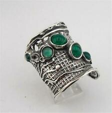 Hadar Designers 925 Sterling Silver Green Agate Ring sz 7,8,9,10 Handmade (H 144