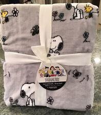 Berkshire Snoopy Woodstock Velvet Soft Twin Plush Blanket Light Gray 60 x 90 NWT