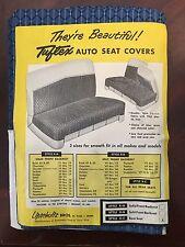 NOS Lipschultz Bros. Tuftex Auto Seat Cover - Rear Seat  Fits most 1949 - 1959
