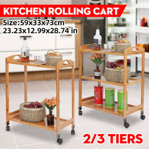 3-Tier Rolling Serving Trolley Dining Kitchen Island Cart Storage Shelf Rack