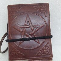 Mini Leather Journal / Book of Shadows on Keychain Embossed Pentacle Wicca
