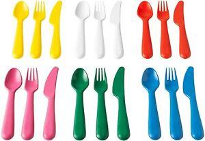 18Pk IKEA KALAS Flatware Set BPA-Free Toddler Plastic Spoon Fork Knife Reusable