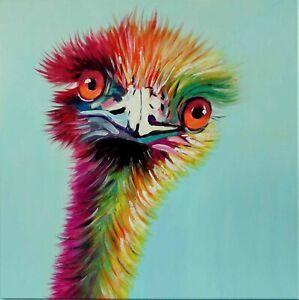 FineDecoArt GEMÄLDE LEINWANDBILD GEMALT TIER VOGEL EMU POPART AUSTRALIEN PORTRÄT