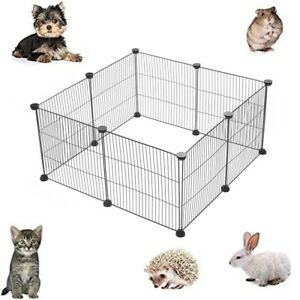 8PCS Pet Playpen Small Animal Cage Indoor etal Wire yd Fence Guinea Pigs Rabbits