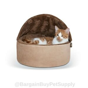 KH Self Warming Hooded Cat Kitty Bed Small Chocolate Tan