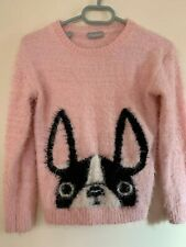 Girls Pink Fluffy Boston Terrier Jumper Age 10 MATALAN