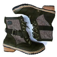 Sorel Women's 8.5 Slimboot Lace Up Herringbone Ankle Boot Leather and Canvas
