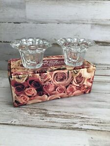 """Crystal Candle Holders Set Of 2!! 3.25"""" OD For 1.5"""" Candles New In Box."""