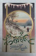AK Neujahrskarte geprägt verschneite Landschaft Mistelzweig gel. 1913