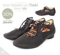 Think! GUAD Damen Halbschuhe Made in EU rustikalen Stil Schwarz Washout-Effekt
