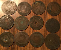 LOT OF 12 CANADA PROVINCIAL LARGE 1 CENT LOT OF 12 COINS