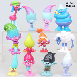 12 Pcs Dreamworks Trolls Action Figure Doll Cake Set Topper Decor Playset Toy