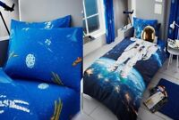 Be A Astronaut Space Kids Boys Duvet Quilt Cover With Fitted Sheet Set Single