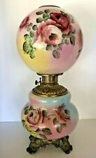 Antique~Gone With The Wind Parlor Banquet Lamp (Gwtw)-Hp Roses~Oil/Kerosene