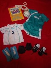 American Girl Doll Two In One Teal/White Soccer Outfit 10 Pieces Retired