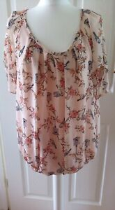 K & D London Ladies Sheer Floaty Peach Top With Floral And Bird Pattern Size 14