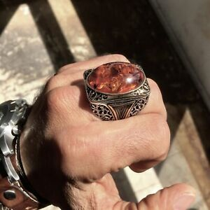 925 Sterling Silver Amber Bakelite Men's Ring Large Solid Unique Turkish Jewelry
