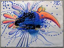 """Ioannis Koutsouris """"MYTHICAL BLUE BIRD"""" Acrylic Ink Pencil Drawing Paper 2011"""