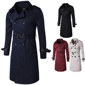 Mens Winter Formal Coat Double Breasted Overcoat Long Jacket Outwear Windbreaker