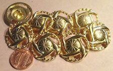 """8 Large Domed Pierced Shiny Gold Tone Metal Buttons Steampunk 1"""" 25mm # 7426"""