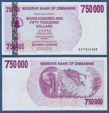 SIMBABWE / ZIMBABWE 750000 Dollars 2007  UNC  P.52