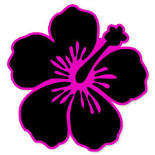 "Hibiscus Flower Black and Pink car bumper sticker window decal 4"" x 4"""