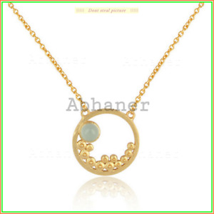 Unique Design Turquoise Stone Gold Plated Necklace 925 Sterling Sliver