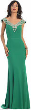 SALE! CAP SLEEVE PROM EVENING GOWN CLASSY STRETCHY FORMAL PARTY DRESS UNDER $100