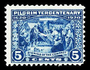 Scott 550 1920 5c Pilgrim Tercentenary Issue Mint Fine+ OG NH Cat $65