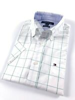 TOMMY HILFIGER Shirt Men's Short Sleeve Poplin Green Graph Check Classic Fit