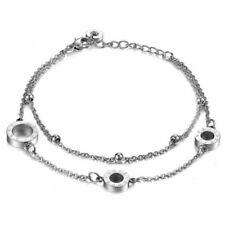 Tobillera de cadena de pulsera de doble capa de acero inoxidable para mujer