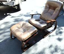 Danish Modern Westnofa Furniture recliner with stool, maple stained ro... Lot 88