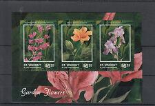 St Vincent & The Grenadines 2014 MNH Garden Flowers I 3v M/S Iris Hibiscus